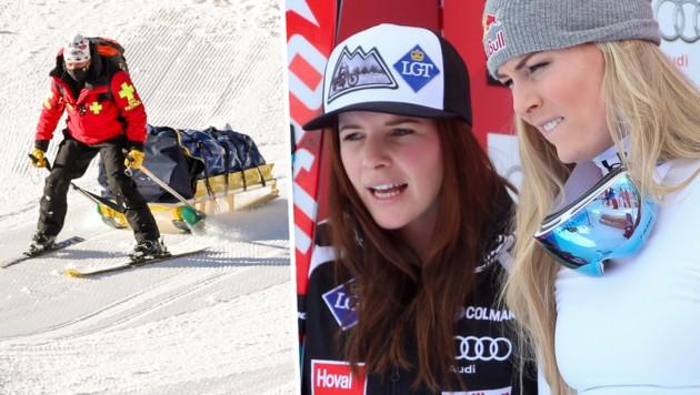 Lindsey Vonn (re.) und Tina Weirather litten mit Nicole Schmidhofer mit. (Bild: GEPA)