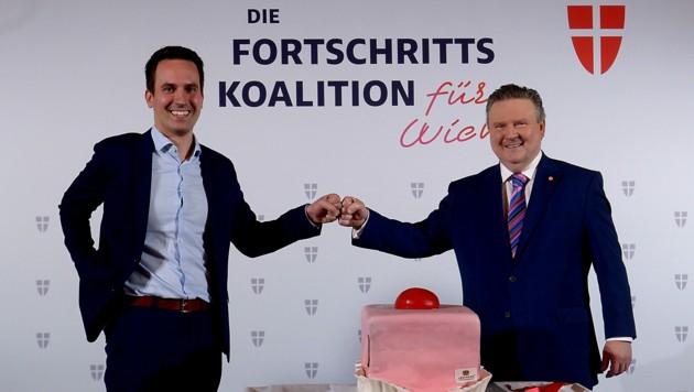 NEOS-Bildungsstadtrat Christoph Wiederkehr und Bürgermeister Michael Ludwig (SPÖ) (Bild: APA/Herbert Pfarrhofer)