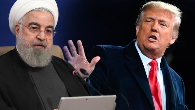 Hassan Rouhani sieht Parallelen zwiscchen US-Präsident Donald Trump und dem irakischen Ex-Diktator Saddam Hussein. (Bild: AP, APA/AFP/Andrew CABALLERO-REYNOLDS, Krone KREATIV)