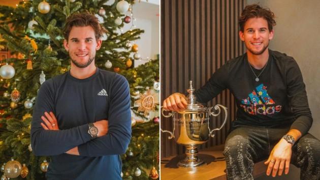 Dominic Thiem in Weihnachtsstimmung - auch dank des US-Open-Pokals (Bild: Instagram.com/Dominic Thiem)