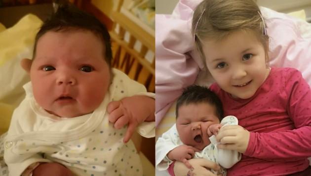 Die kleine Maya Lena mit ihrer Schwester Mia Loreen.