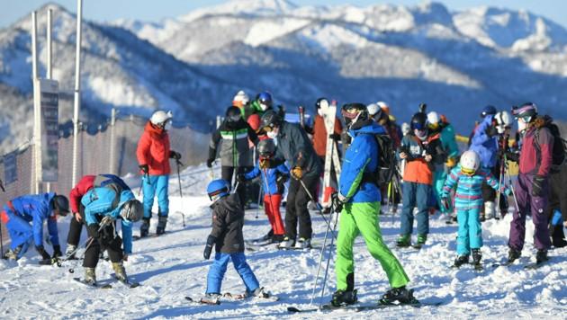 Skifahrer am Kasberg in Oberösterreich