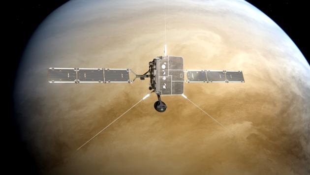 """Künstlerische Darstellung des Fly-bys der Sonde """"Solar Orbiter"""" an der Venus"""