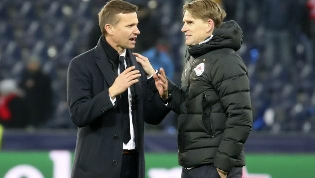 Pflegen einen offenen Austausch: Trainer Jesse Marsch (li.) und Sportboss Christoph Freund. (Bild: Tröster Andreas)