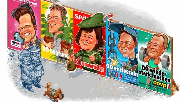 Die erste Serie von Wahlplakaten in Oberösterreich... (Bild: Milan A. Ilic)