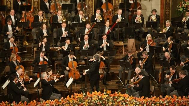 Die Wiener Philharmoniker beim Neujahrskonzert 2021 (Bild: APA/DIETER NAGL)