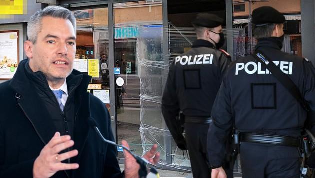 Innenminister Karl Nehammer (ÖVP) hat die Randale in Wien-Favoriten in der Silvesternacht scharf verurteilt und kündigte eine Schwerpunktaktion der Polizei an. (Bild: Tomschi Peter, APA, Krone KREATIV)