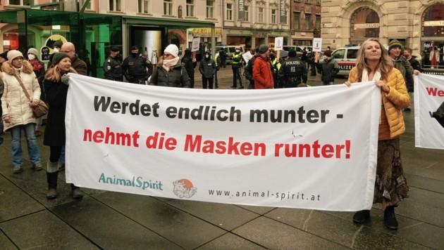 Ein Foto von einer Corona-Demo im Jänner im Graz (Bild: Sepp Pail)