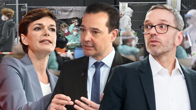 Die Opposition möchte die Regierungspläne zum Freitesten im Budnesrat blockieren. (v.l.n.r.: Pamela Rendi-Wagner/SPÖ, Gerald Loacker/NEOS, Herbert Kickl/FPÖ) (Bild: APA, krone.tv, Krone KREATIV)