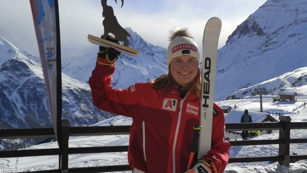 Platz drei beim Europacup-Super-G in Zinal: Lisa Grill.