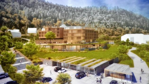 So hätte die neue 80 Millionen Euro teure Luxusklinik der Vivamayr-Gruppe in Maria Wörth ausgesehen. (Bild: Fister Katrin/Kronenzeitung)