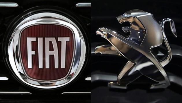 Fiat und Peugeot sind nur zwei der 14 Marken des neuen Konzerns Stellantis (Bild: APA/AFP/MARCO BERTORELLO, Joël SAGET)
