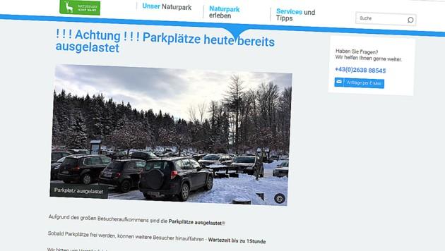Der Ansturm war enorm, beim Naturpark Hohe Wand waren die Parkplätze ausgelastet. (Bild: Screenshot naturpark-hohewand.at)