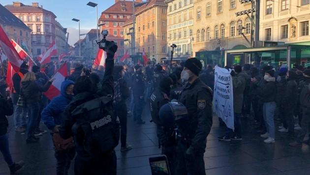 Corona-Demo in Graz am 9. Jänner 2021 (Bild: Jakob Traby)