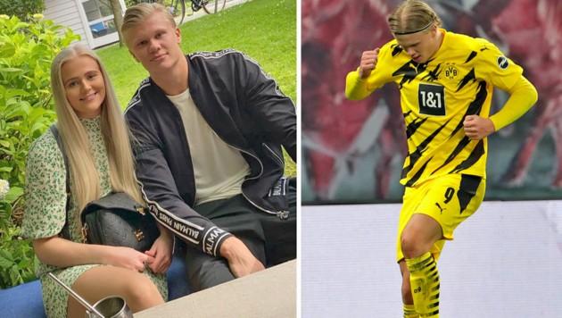 Erling Haaland links mit Schwester Gabi, rechts beim Torjubel gegen RB Leipzig (Bild: AP, Instagram/erling.haaland)