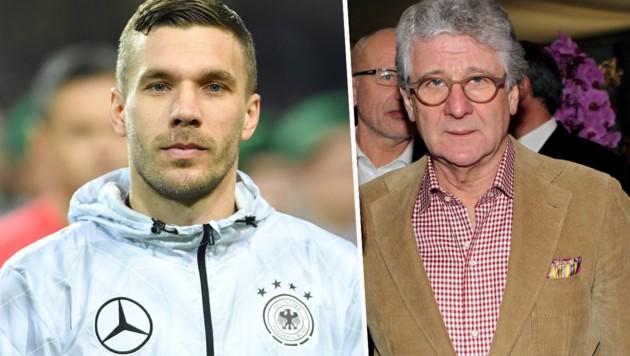 Lukas Podolski (li.) und Marcel Reif