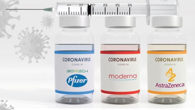 Von den drei bald in Österreich zugelassenen Impfstoffen weist jener von AstraZeneca die geringste Wirksamkeit auf. (Bild: stock.adobe.com, Krone KREATIV)