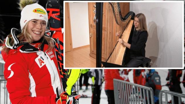 Harfenspielerin Katharina Liensberger liebt den Hang in Flachau. (Bild: ANDREAS TROESTER)