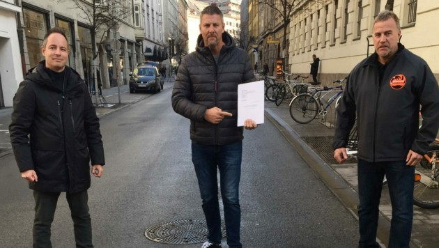 Willis Opposition: Markus Lassenberger (li.), Thomas Mayer (Liste Fritz), Gerald Depaoli (Team Gerecht). (Bild: zvg)