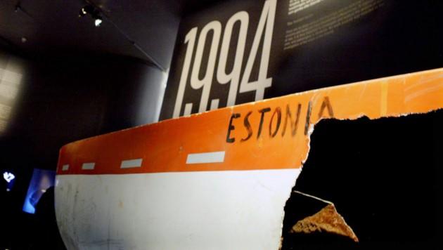 Ein Ausstellungsstück im Estonia-Museum in Stockholm