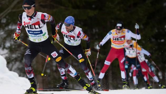 Johannes Lamparter, Lukas Greiderer b und Markus Riiber in Ramsau. (Bild: AP/Andreas Schaad)
