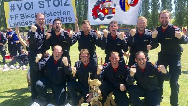 Die umjubelten Landessieger in Bronze müssen derzeit pausieren, hoffen aber auf baldige Feuerwehrbewerbe. (Bild: FF Bischofstetten)