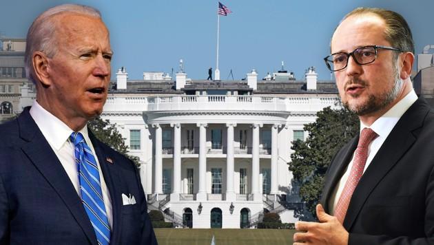 Der künftige US-Präsident Joe Biden und Österreichs Außenminister Alexander Schallenberg (Bild: APA, AP, AFP Krone KREATIV)
