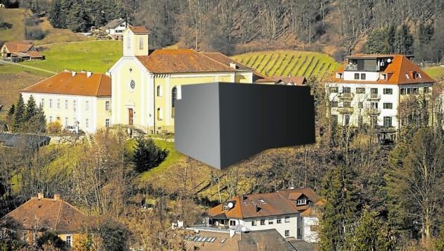 Der Wohnblock (Fotomontage) würde den Blick auf die denkmalgeschützte Kirche versperren. (Bild: Sepp Pail)