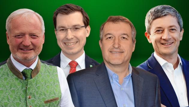 Die Bürgermeister Walter Schweighofer, Stefan Hofer, Karl Rudischer, Fritz Pichler (von links) (Bild: Heinz Weeber, Josef Kuss, Gemeinde Stanz, Krone KREATIV)
