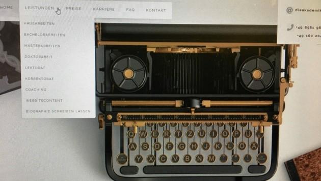 Die Website einer Schreibwerkstätte (Bild: dieakademikerin.at)