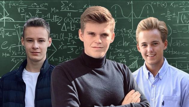 Alexander Arzberger, Leonhard Leitinger und Maximilian Held (v. li.) wollen eine faire Matura (Bild: Krone KREATIV, zVg, stock.adobe.com)