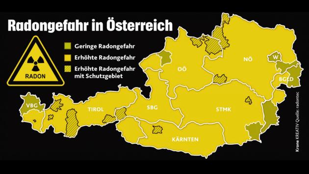 Radioaktives Edelgas sorgt für Probleme - das Land baut deshalb die Schutzmaßnahmen aus. (Bild: Krone KREATIV/radontec)
