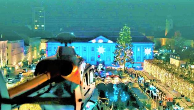 """Auch der Neue Platz in der Landeshauptstadt wird im Film """"White Christmas"""" zur Kulisse. (Bild: MonaFilm)"""
