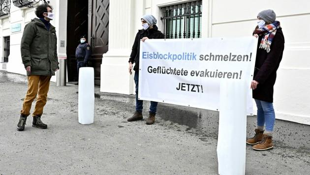 """SOS Mitmensch wirft der türkis-grünen Regierung eine """"Eisblockpolitik"""" gegenüber Flüchtlingen vor. (Bild: APA/HANS PUNZ)"""