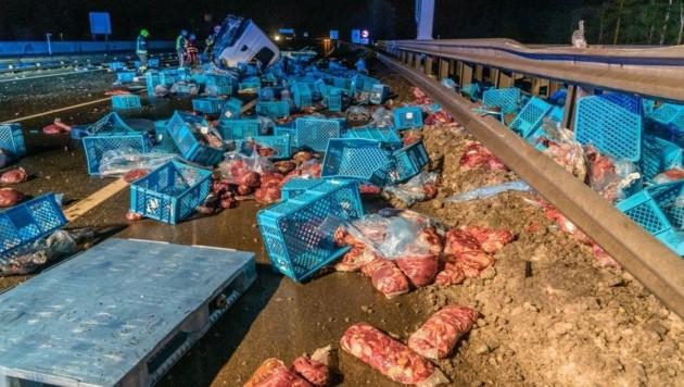 20 Tonnen Pferdefleisch mussten von der Feuerwehr entsorgt werden. (Bild: Einsatzdoku.at)