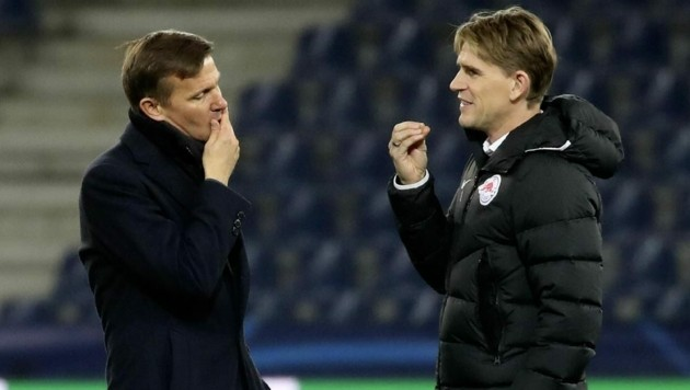 Salzburg-Coach Marsch (li.) und Sportchef Freund. (Bild: Andreas Tröster)