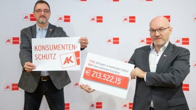 AK-Präsident Michalitsch (links) und Leiter der AK-Konsumentenschutzabteilung Koisser ziehen Corona-Bilanz. (Bild: AK Burgenland)