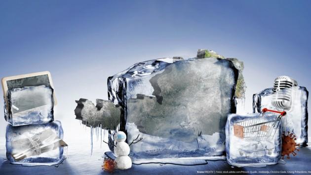 Das öffentliche Leben in Österreich liegt weiter auf Eis - Schulen, Gastronomie, Handel bleiben zu, Veranstaltungen untersagt. (Bild: stock.adobe.com, Krone KREATIV)