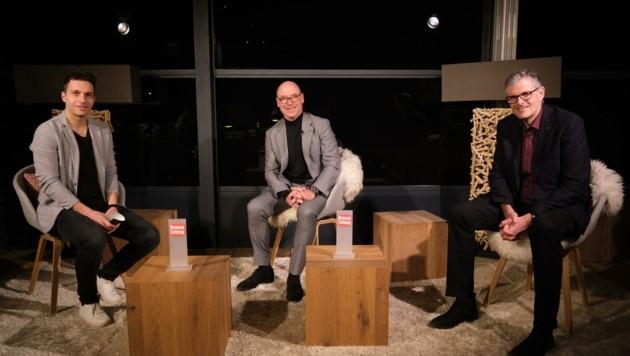 Harisch (Mitte) und Winkler (re.) im Interview zum ungewöhnlichen Rennen. (Bild: urbantschitsch mario)