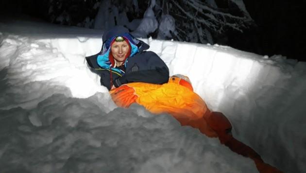 So hat Anna Pabel am 1840 Meter hohen Ferlacher Horn bei minus 15 Grad im Schlafsack übernachtet. (Bild: Anna Pabel)