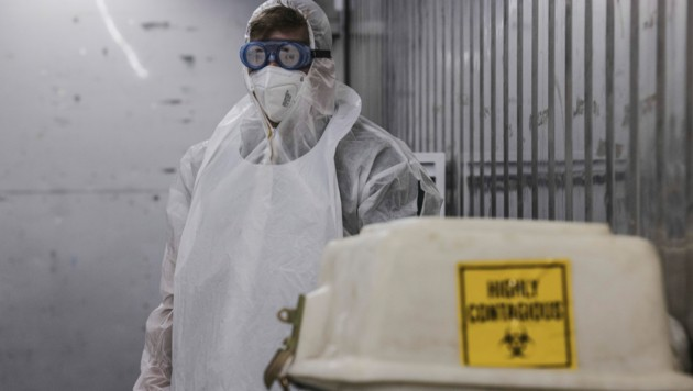 Ein Mitarbeiter einer Leichenhalle in der südafrikanischen Stadt Johannesburg (Bild: AFP )