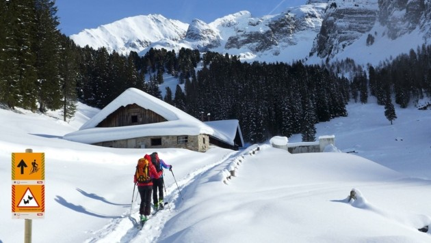 Tourenlenkung bei der Loschbodenalm. (Bild: Naturpark Zillertaler Alpen)