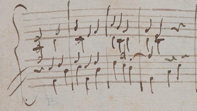 Original-Handschrift: Das Stück aus dem Jahr 1773 hat Mozart vermutlich aus Italien an seine Schwester geschickt. (Bild: Stiftung Mozarteum Salzburg)