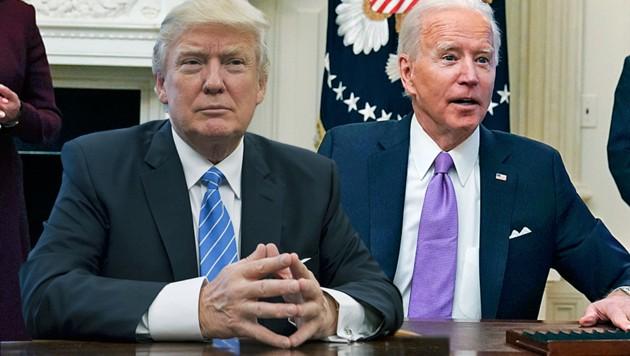 """US-Präsident Joe Biden führt mit dem """"Made in America""""-Dekret eine Initiative seines Vorgängers Donald Trump fort. (Bild: AP, AFP, Krone KREATIV)"""