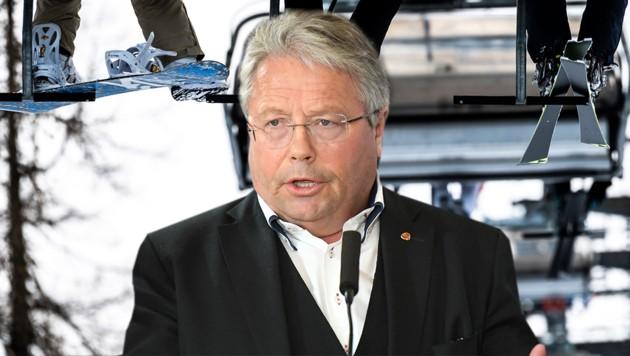 Der Zillertaler ÖVP-Nationalrat Franz Hörl ist auch oberster Seilbahner im Land. (Bild: APA/Fotokerschi.AT/Kerschbaummayer bzw. APA/EXPA/Erich Spiess, Krone KREATIV)