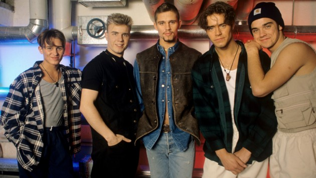 In den 90er-Jahren feierten Mark Owen, Gary Barlow, Jason Orange, Howard Donald und Robbie Williams als Take That große Erfolge. (Bild: Fryderyk Gabowicz / dpa Picture Alliance / picturedesk.com)