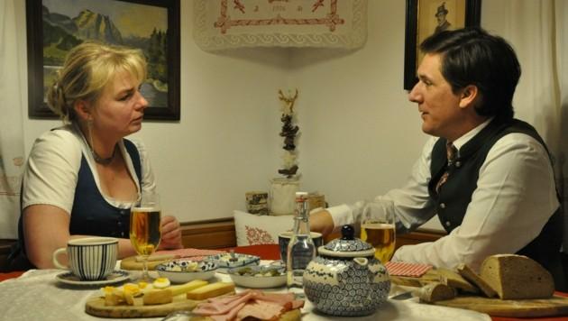 Bürgermeister Franz Steinegger mit seiner Almbäuerin Heidi Rastl. (Bild: Franz Steinegger)