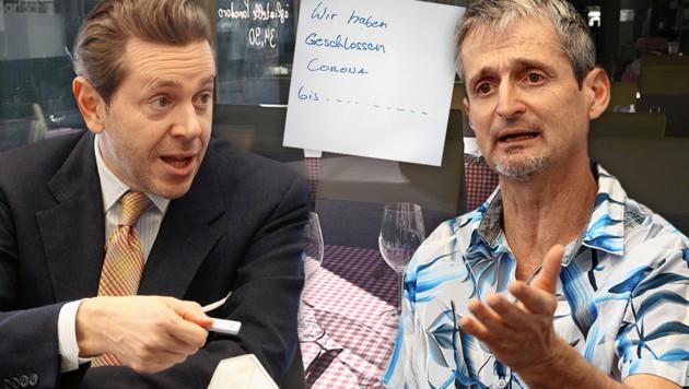 WKO-Chef Harald Mahrer und Mediziner Hans-Peter Hutter (re.) plädieren für vorsichtiges Öffnen (Bild: Klemens Groh, APA, Krone KREATIV)