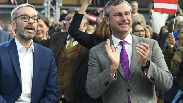 Kickl und Hofer beim FPÖ-Neujahrstreffen 2020. Damals stand man noch eng beisammen. Das ist mittlerweile nicht mehr so, nicht nur wegen der Corona-Pandemie. (Bild: APA/Robert Jäger)