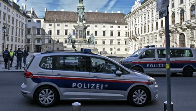 Einsatzfahrzeuge der Polizei im inneren Burghof in Wien (Bild: APA/Herbert Neubauer)